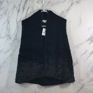 LOFT Black Faux Fur Chunky Sweater Back Vest